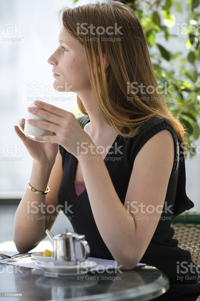 Natural Beauty in a Café royalty-free stock photo