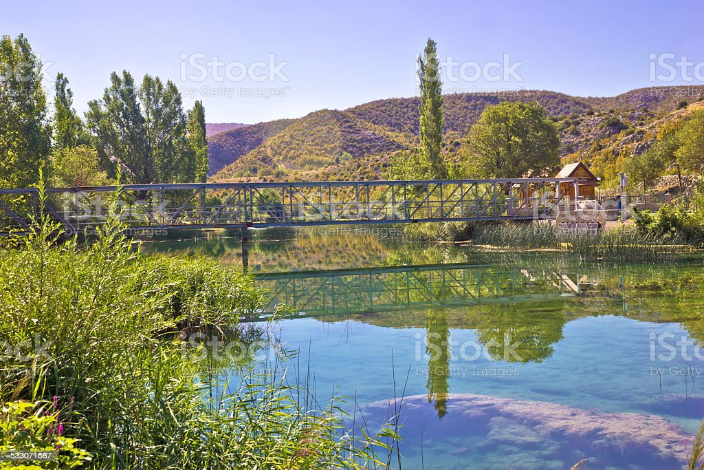 Natural beauty of green Zrmanja river stock photo
