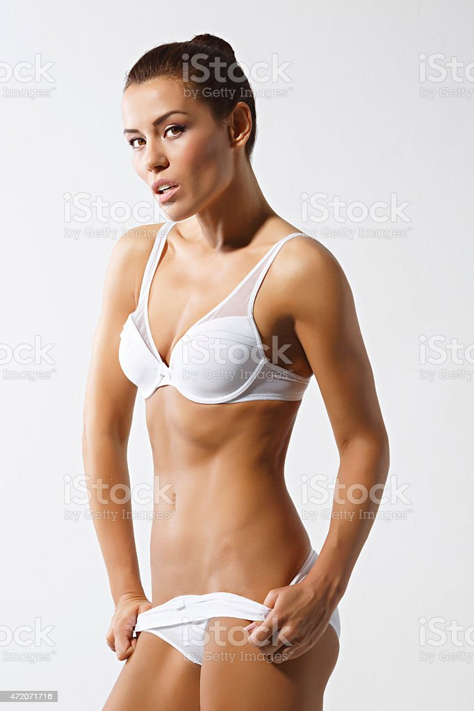 Natural beauty photo shot  Young beautiful semi naked woman stock photo