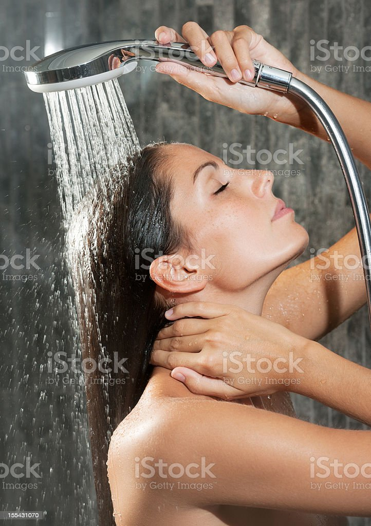 Natural Beauty relaxing under a hot shower (XXXL) royalty-free stock photo