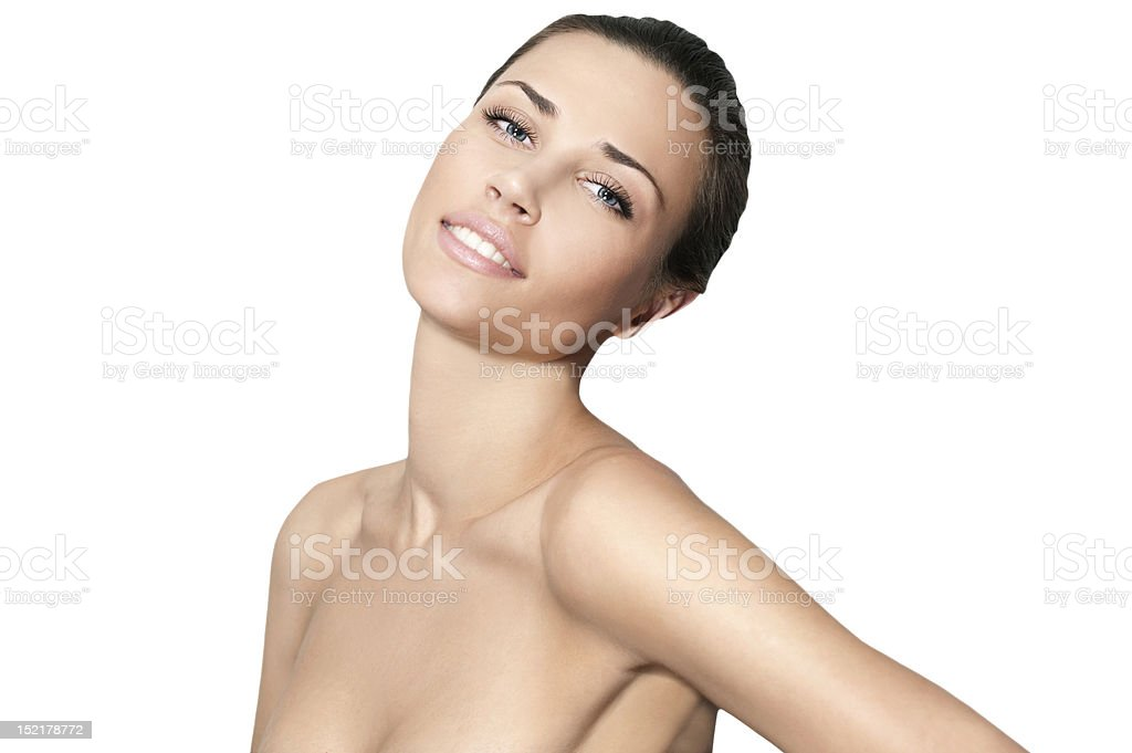 Natural beauty smiling women in white background royalty-free stock photo