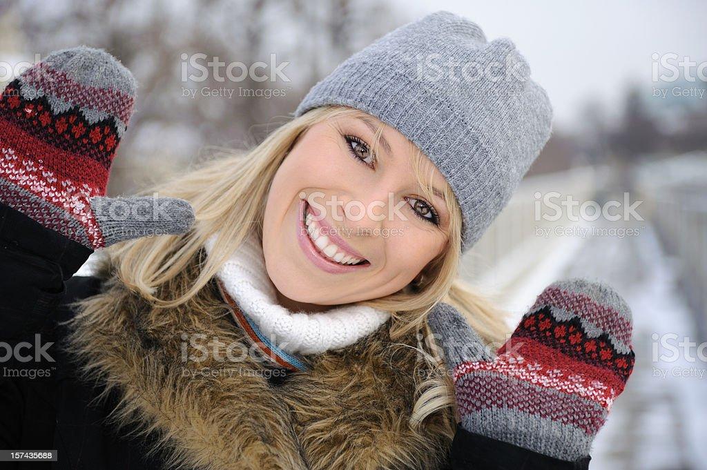 Natural Beauty Winter Outdoor Portrait stock photo