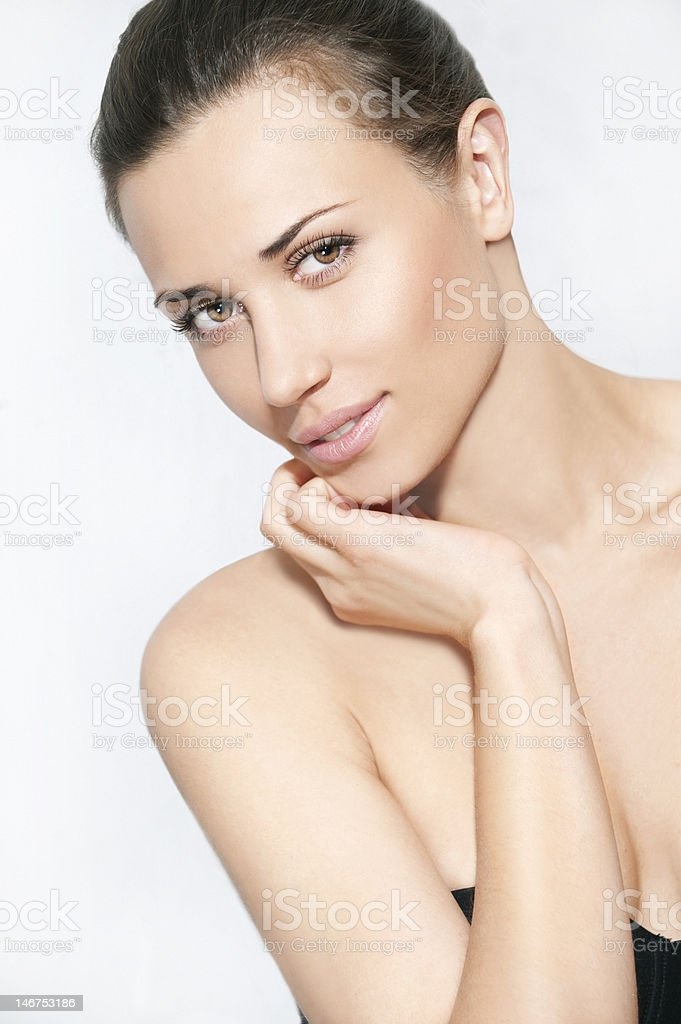 Natural beauty women portrait with one hand in white background royalty-free stock photo