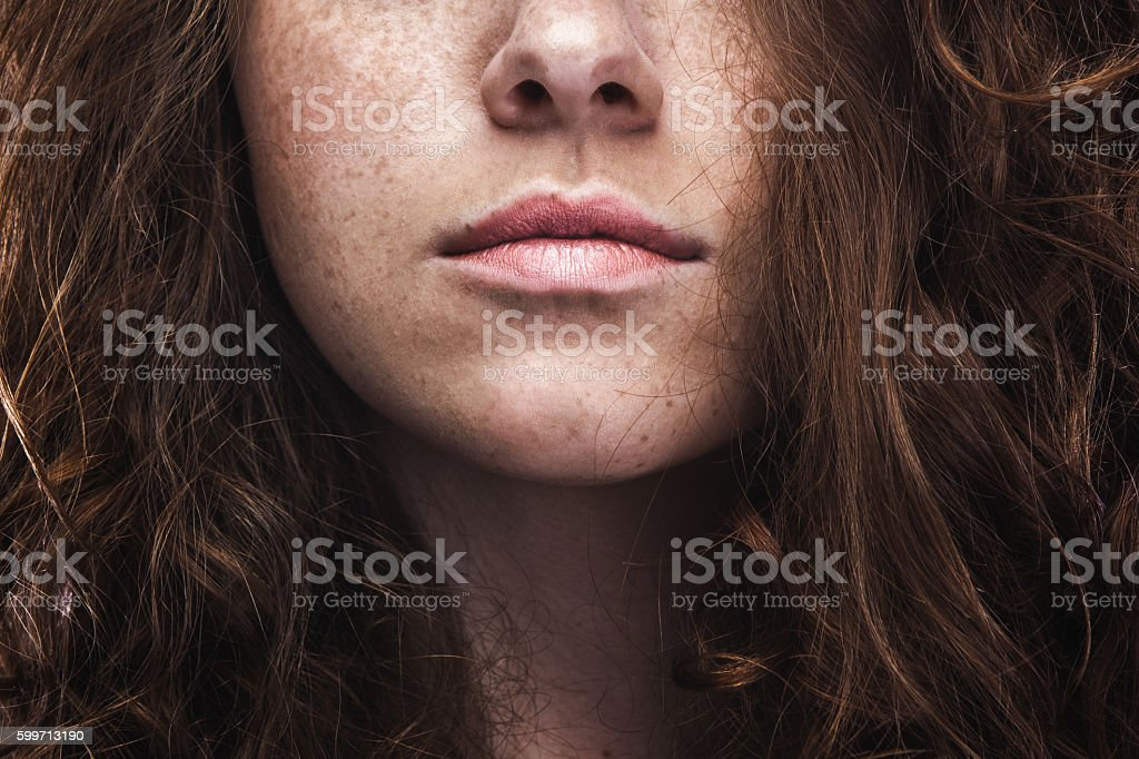 Natural Beauty Young Woman with Freckles stock photo
