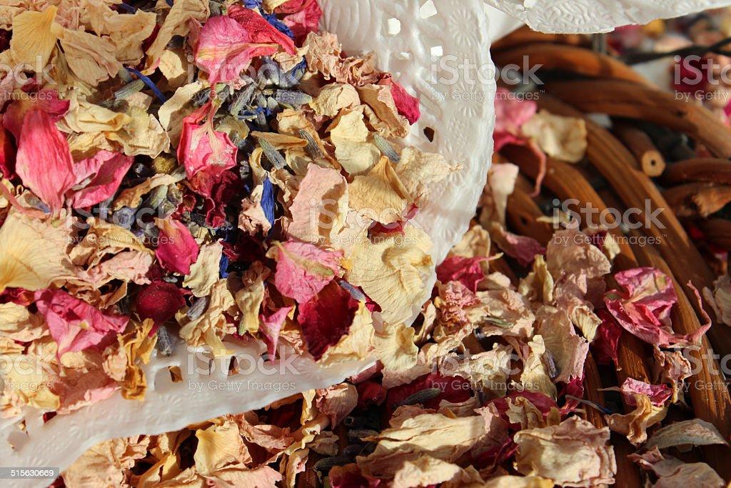 Natural biodegradable wedding confetti cones, dried delphinium / rose flower petals stock photo
