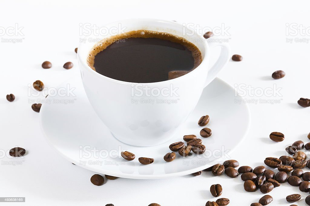 natural black coffee in a white cup royalty-free stock photo