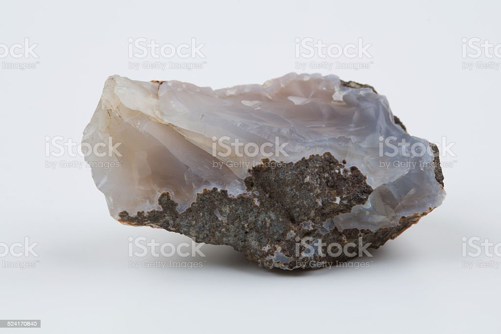 Natural blue agate on a white background. stock photo
