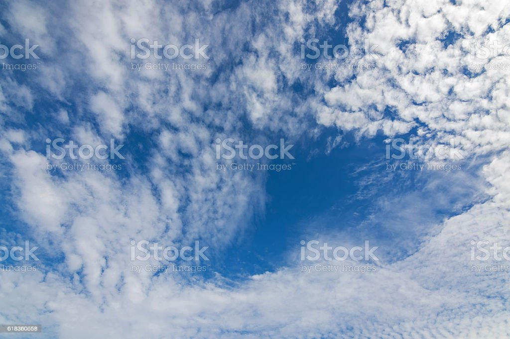 Natural blue sky with Cirrocumulus Clouds formation stock photo