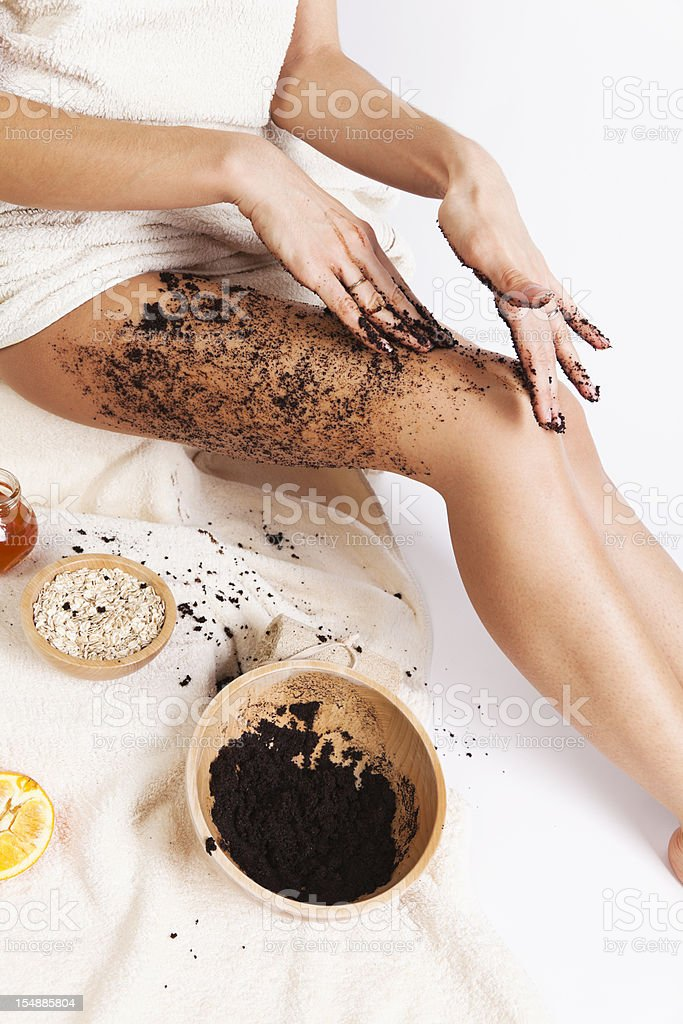 Natural Body Care. Cellulite Massage with Coffee scrub, oats, honey. stock photo