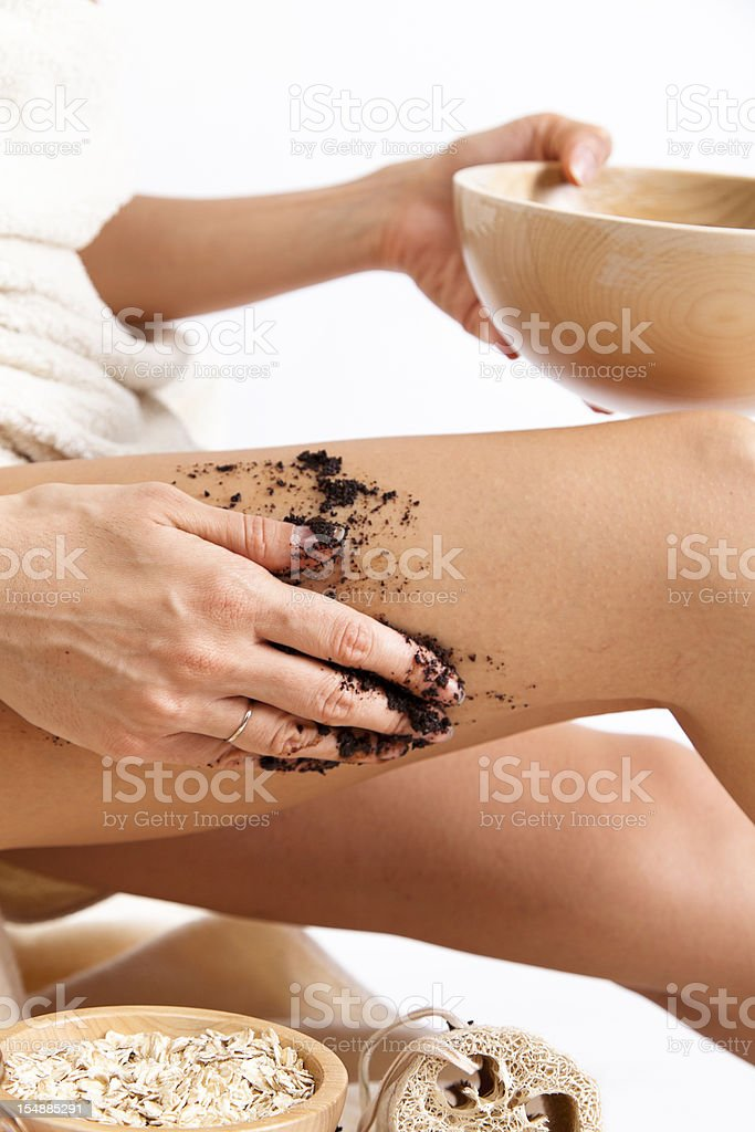 Natural Body Care. Homemade. Organic anti Cellulite Massage. Coffee. Oats. stock photo