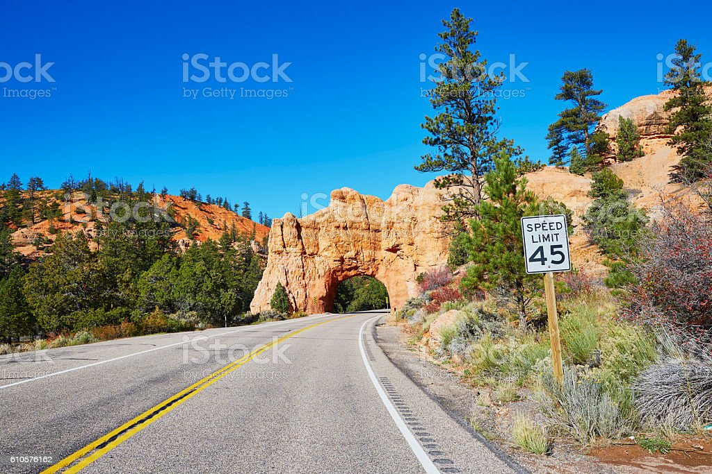 Natural bridge in Bryce Canyon National Park in Utah, USA stock photo