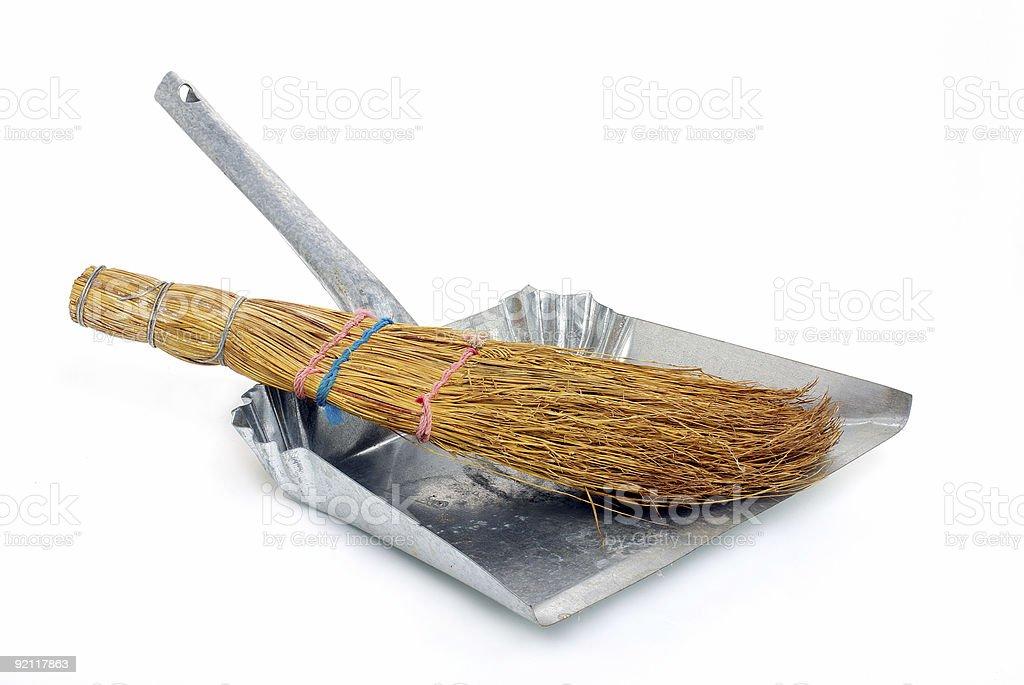 natural broom in metal dustpan stock photo