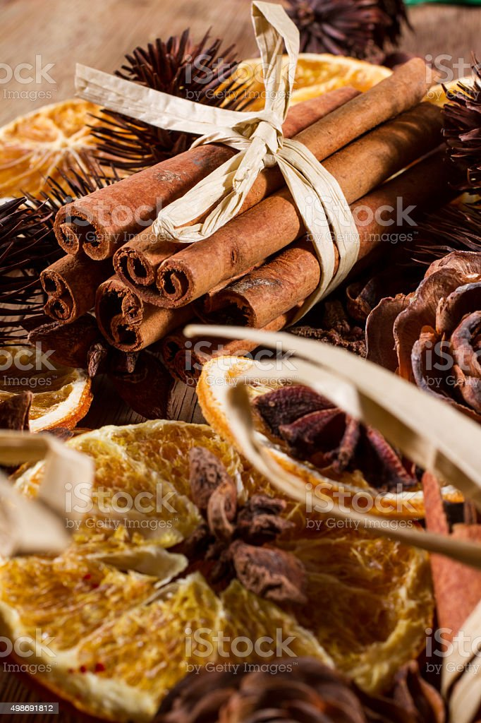 Natural Christmas decorations stock photo