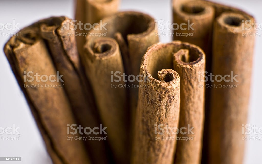 Natural Cinnamon Background on White stock photo