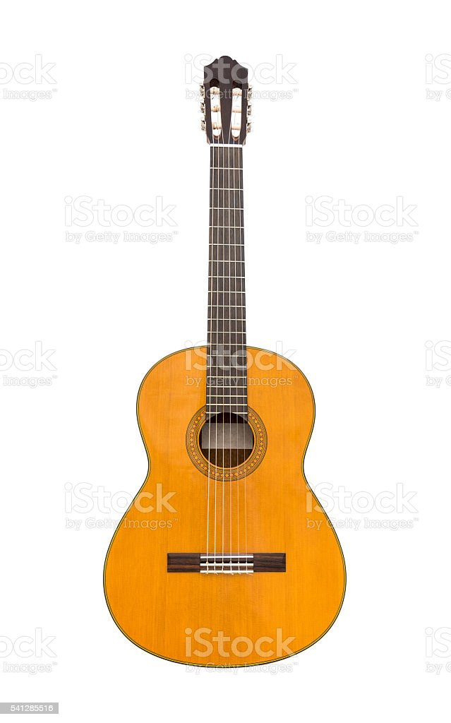 Natural Classical Acoustic Guitar Isolated on a White Background stock photo