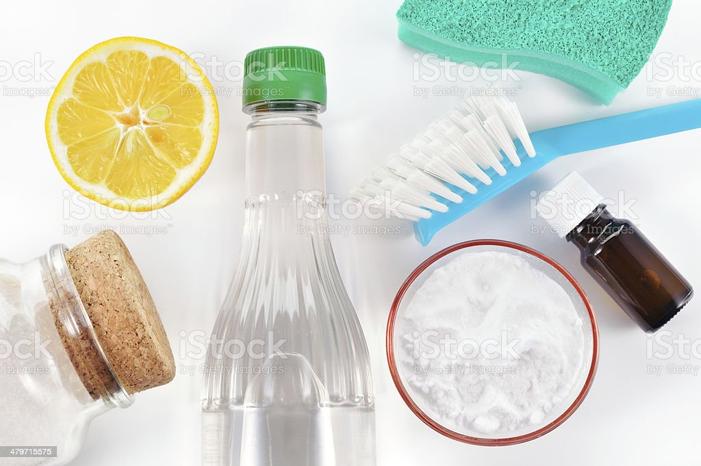 Natural cleaner. Vinegar, baking soda, salt, lemon stock photo