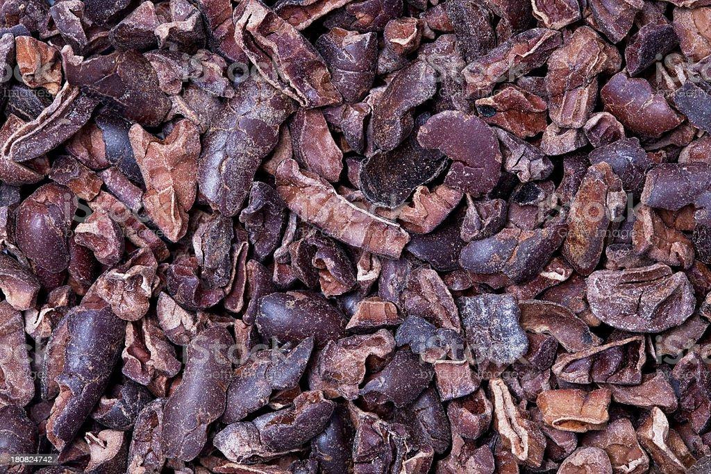 natural cocoa nibs stock photo