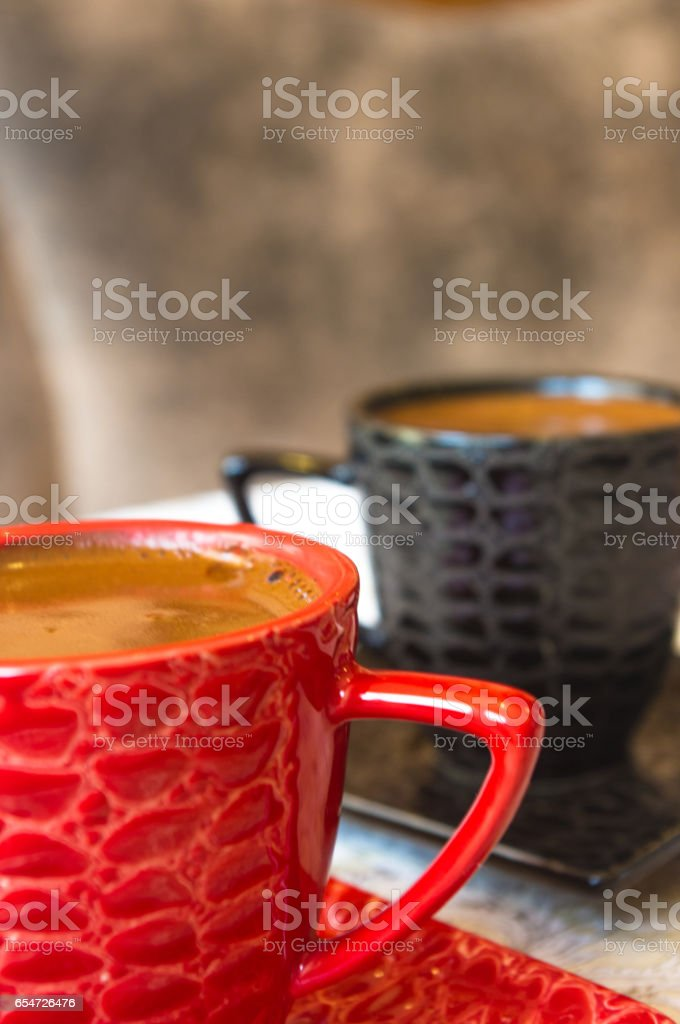 natural coffee with crema in Cup stock photo