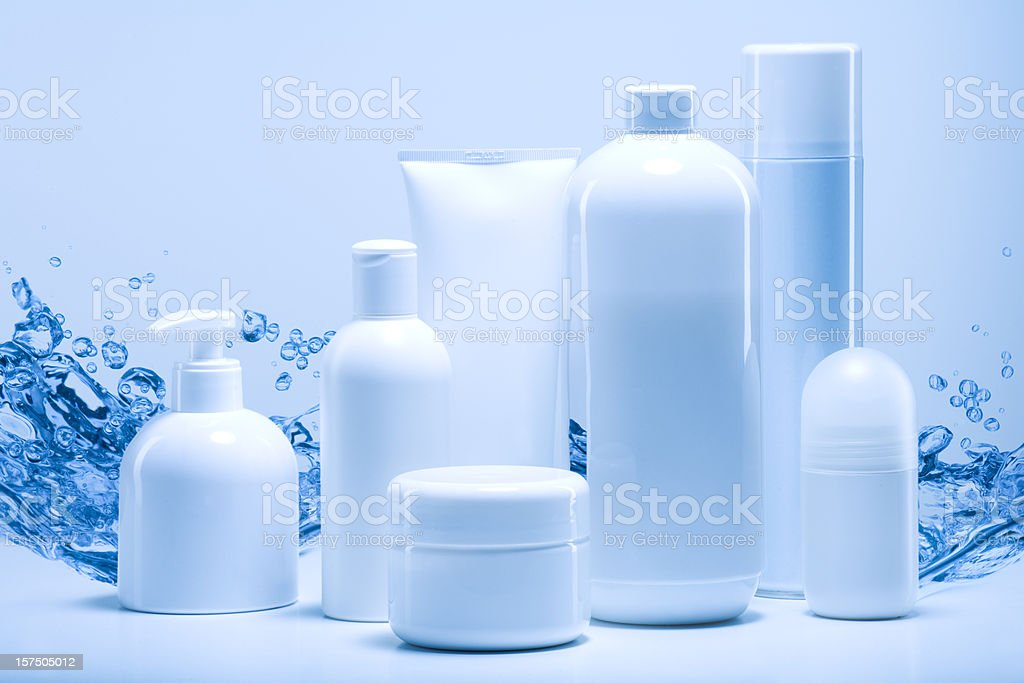 natural cosmetics against water background royalty-free stock photo