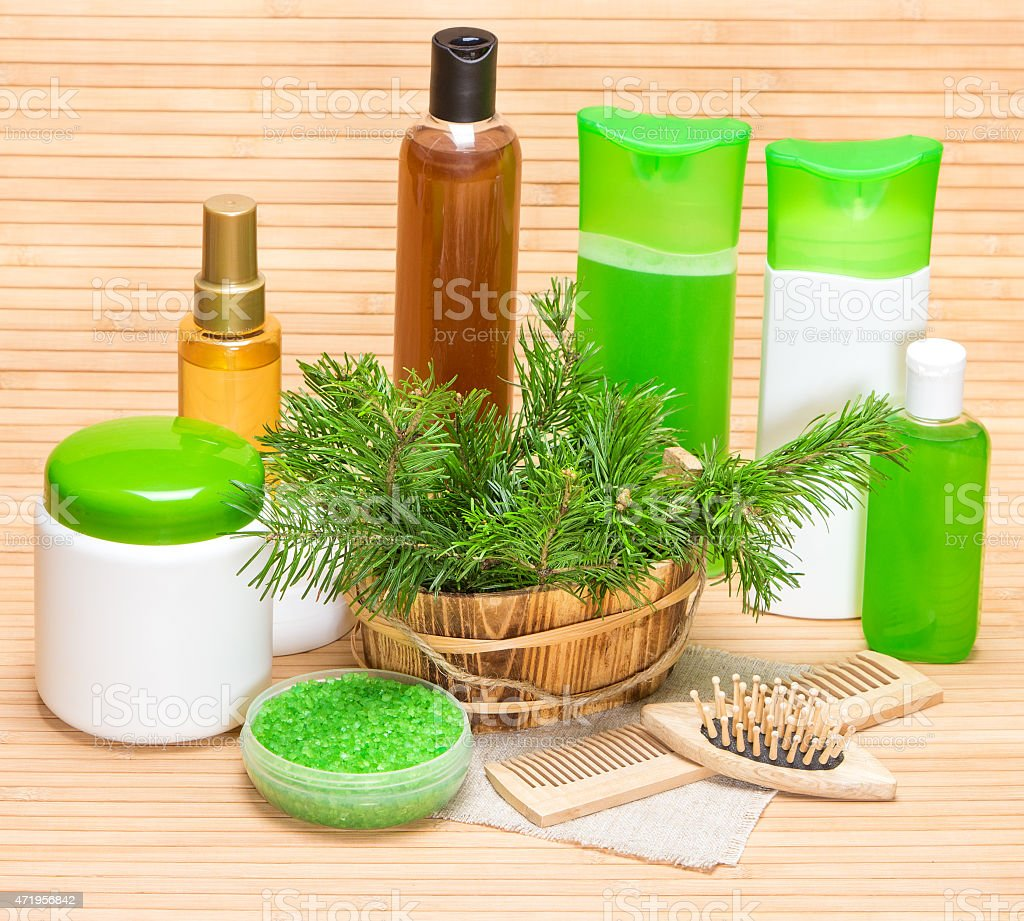 Natural cosmetics and accessories for hair health and beauty stock photo