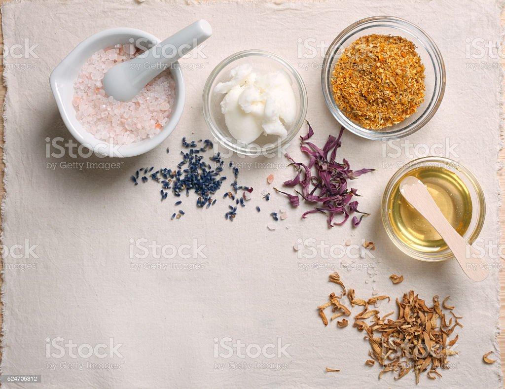 Natural cosmetics ingredients stock photo