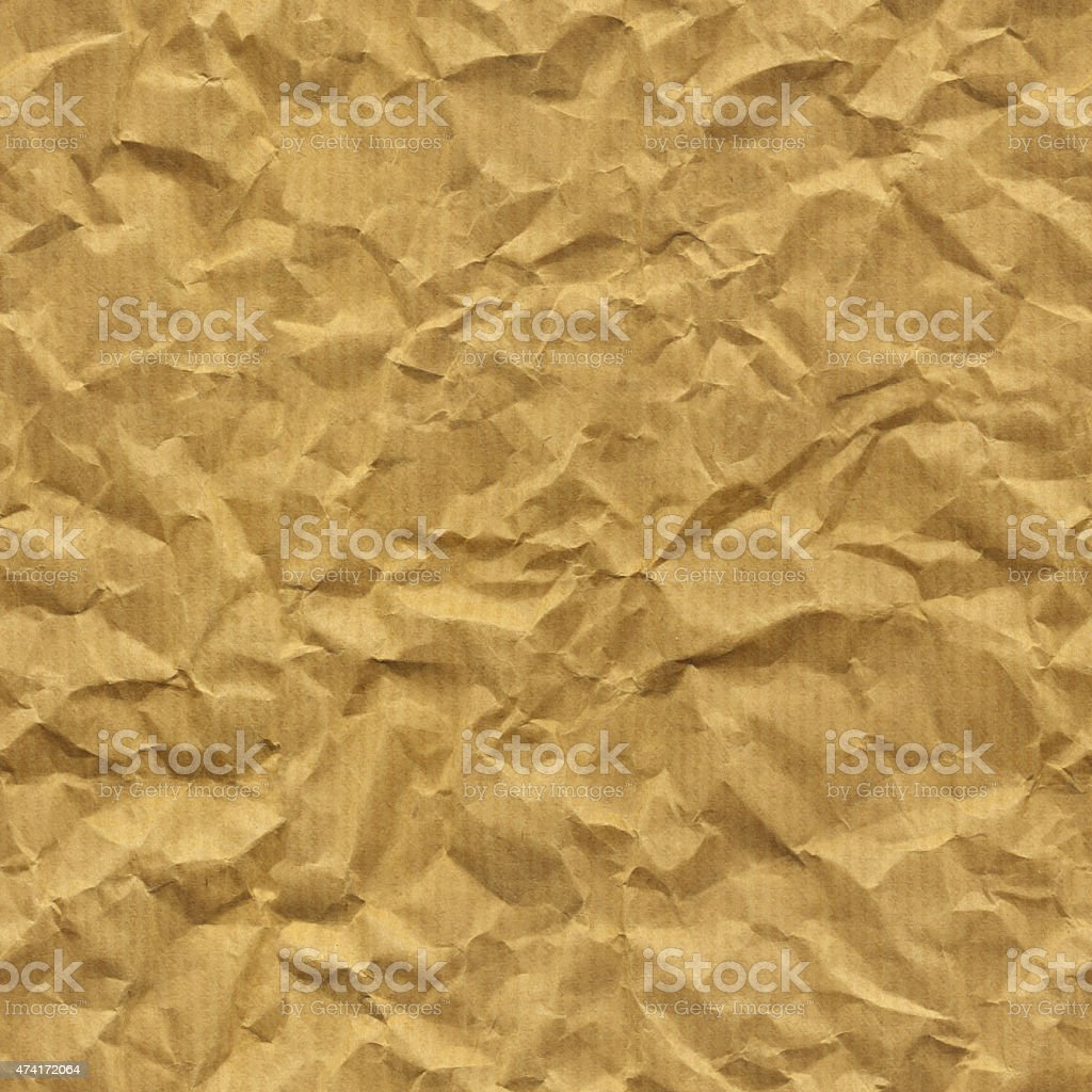 Natural crumpled striped brown paper stock photo