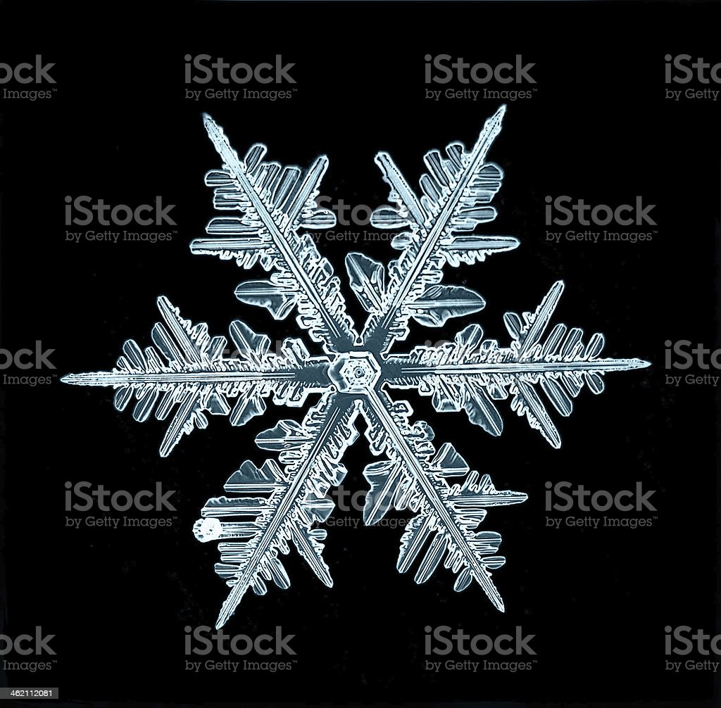 natural crystal snowflake macro stock photo