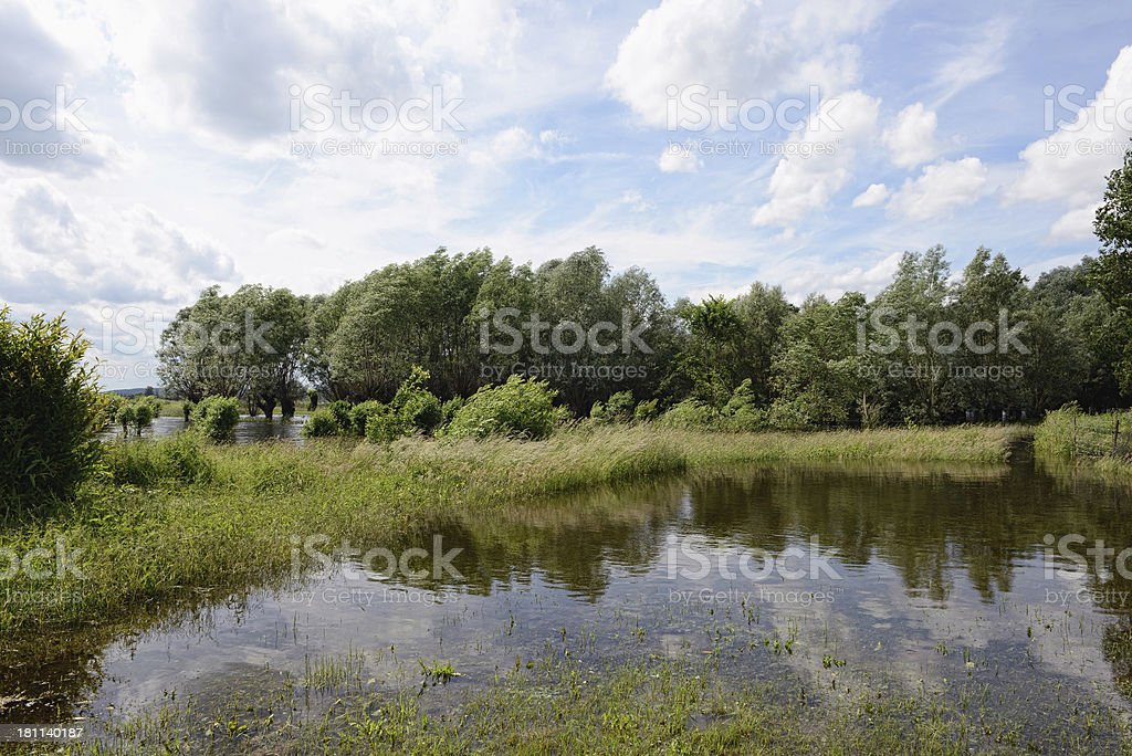 natural disaster of great flood 2013 in Brandenburg (Germany) royalty-free stock photo