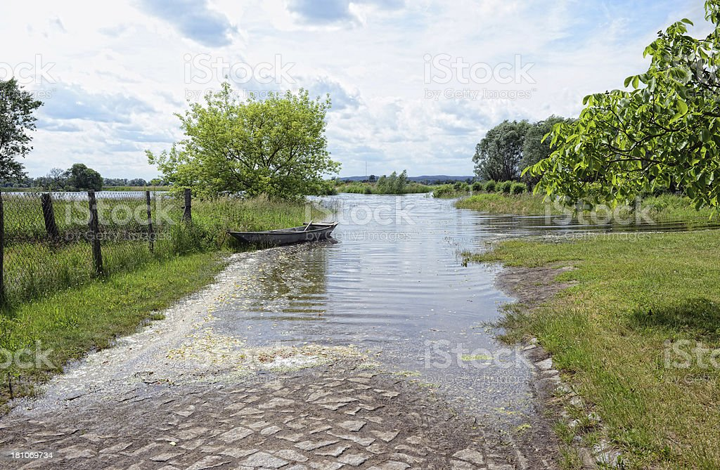 natural disaster of great flood 2013 in Gülpe (Germany) stock photo