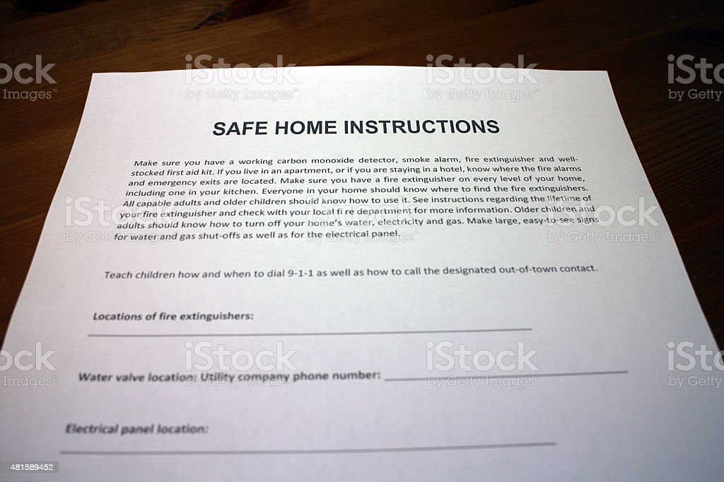Natural Disaster Safe Home Instructions stock photo