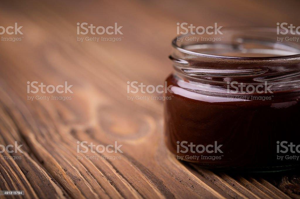 Natural diy homemade chocolate jam stock photo