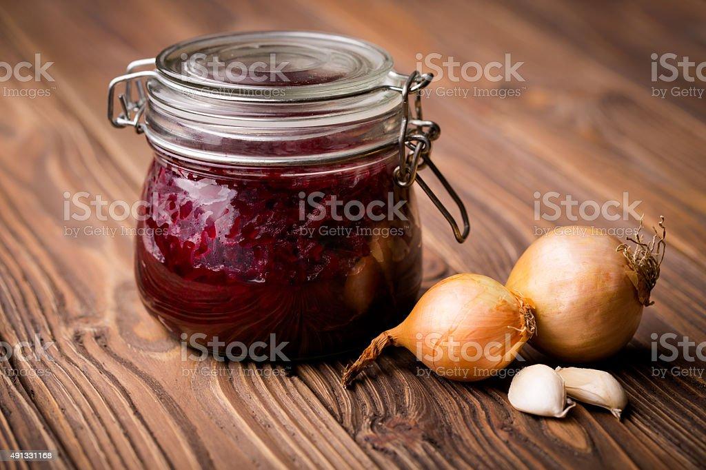 Natural diy pickled beetroot stock photo