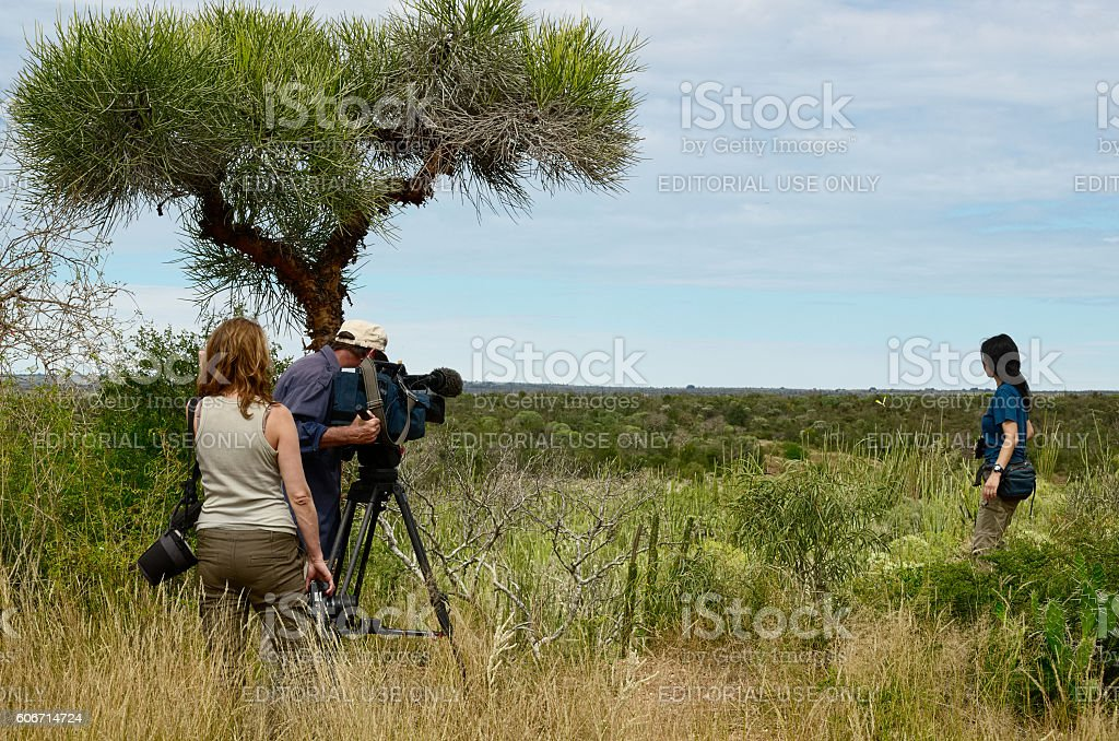 Natural documentary filming in Madagascar stock photo