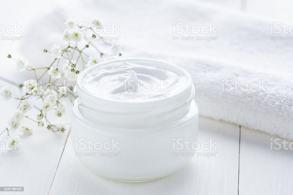 Natural facial cream healthy organic cosmetic wellness and relaxation product stock photo