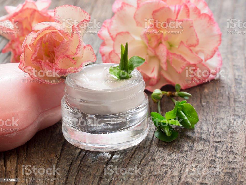 natural facial cream stock photo