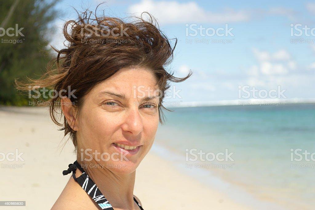 Natural facial expression stock photo