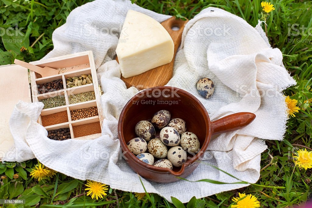 Natural farming products on grass background, organic farm food stock photo