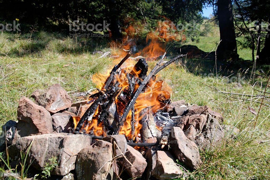 Natural fireplace in the forest royalty-free stock photo
