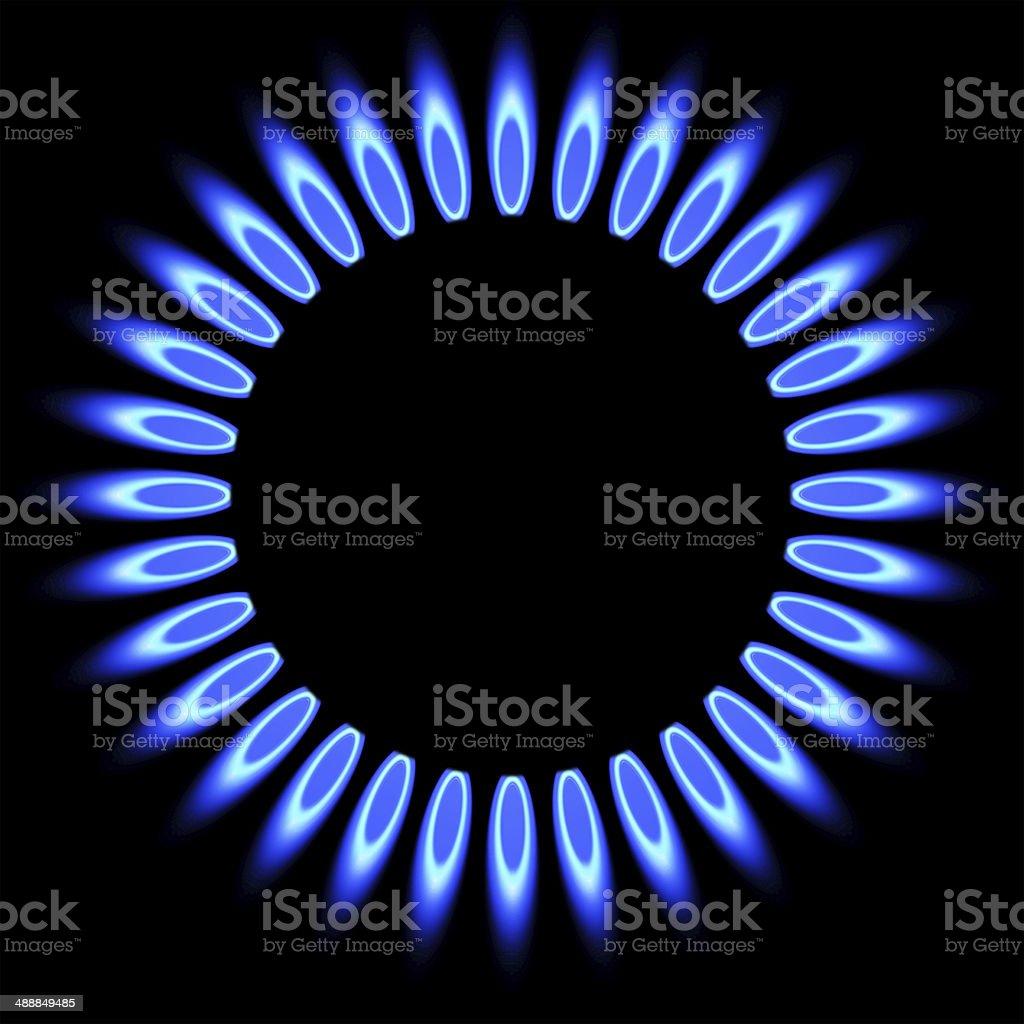 Natural  flame. gas stove burner. stock photo
