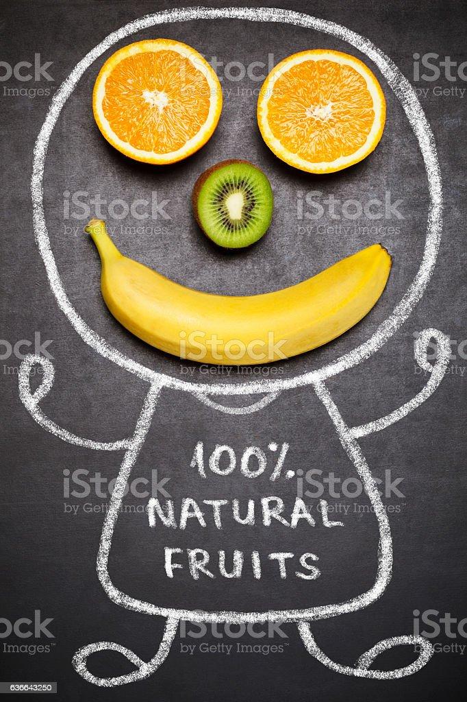 100 % natural fruits stock photo