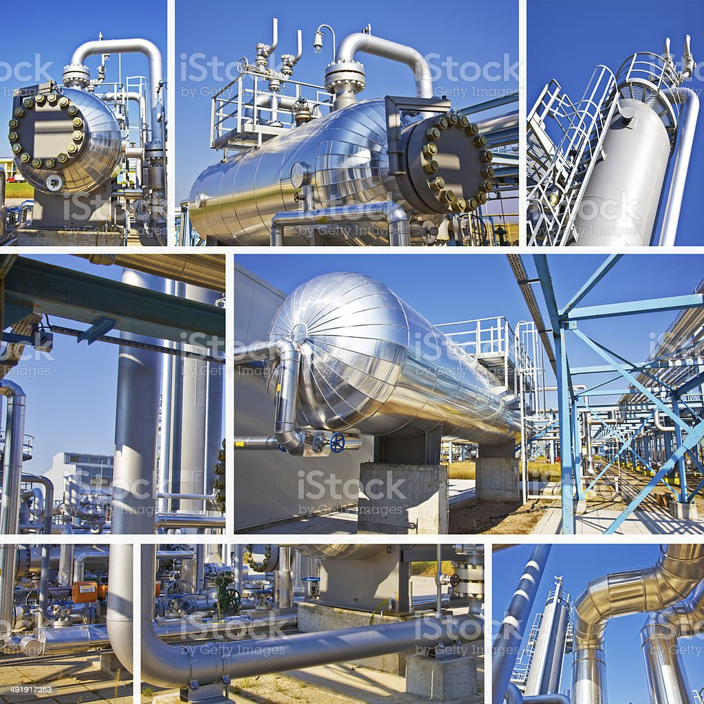 Natural gas and oil storage Split screen stock photo