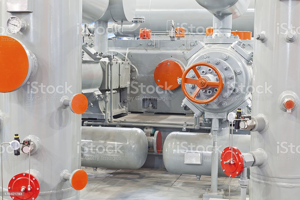 Natural gas compressors system stock photo