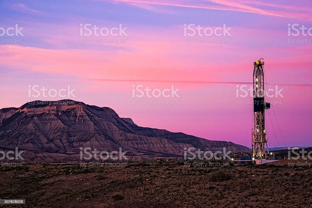 Natural Gas Drilling Rig in Scenic Canyon stock photo