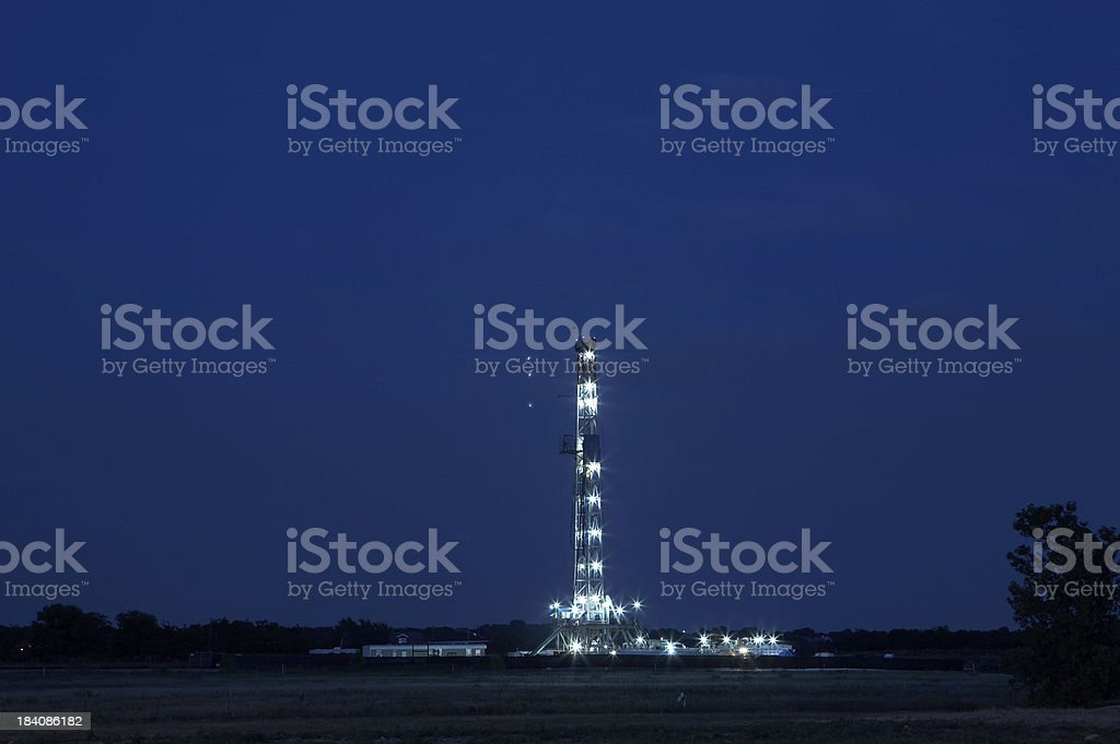 Natural gas drilling rig stock photo