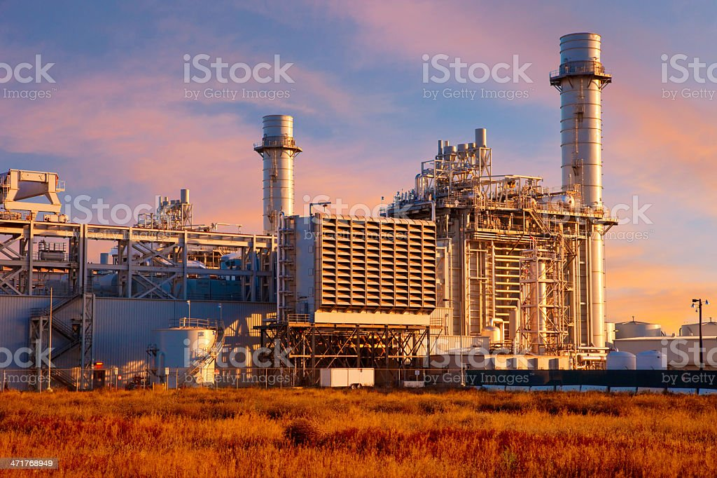 Natural Gas Fired Electrical Power Plant royalty-free stock photo