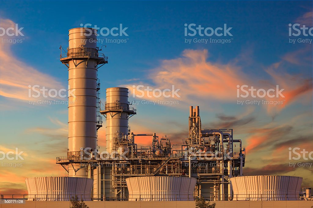 Natural gas fired turbine power station,CA stock photo