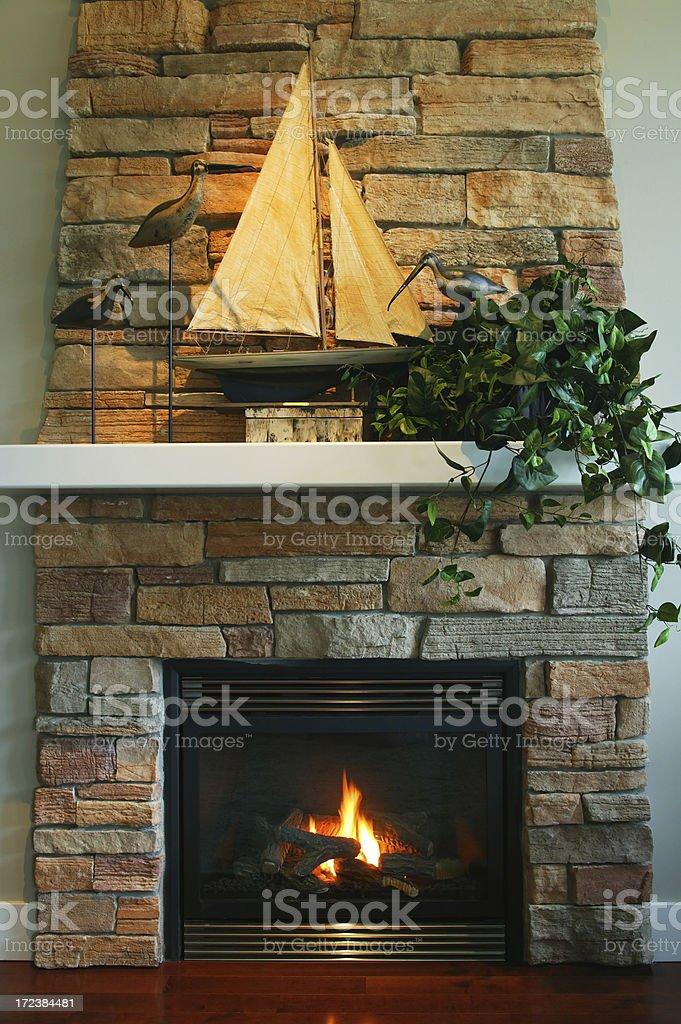 natural gas fireplace stock photo