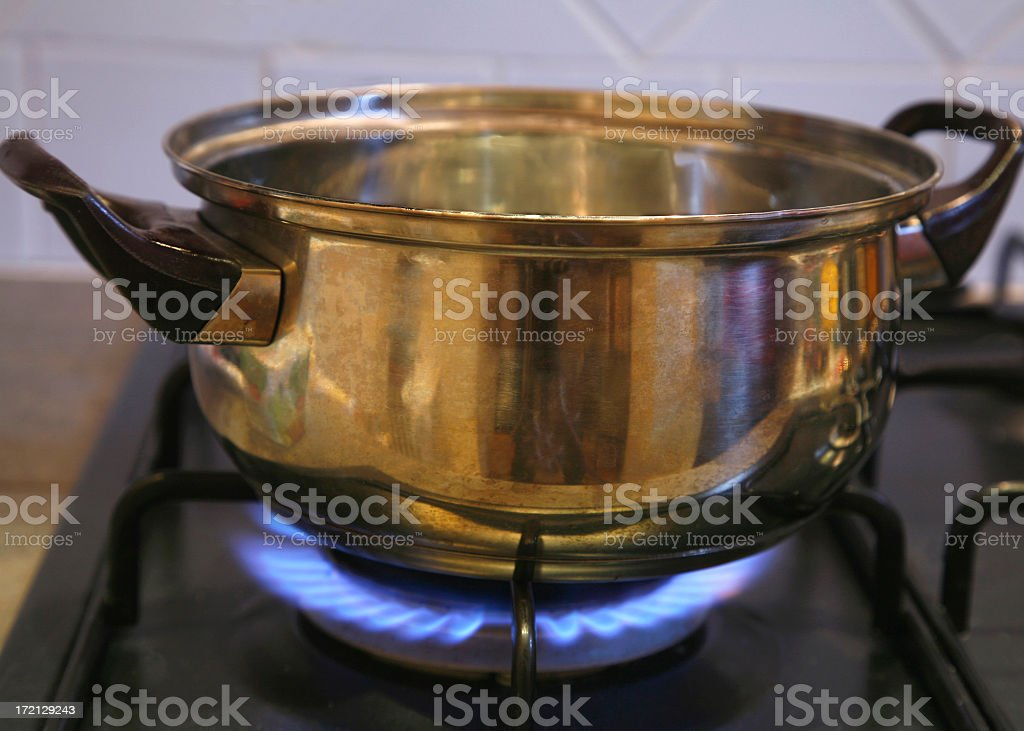 Natural Gas Flame On Stove. royalty-free stock photo