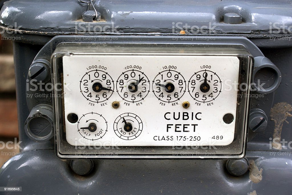 Natural Gas Meter Guages Panel stock photo