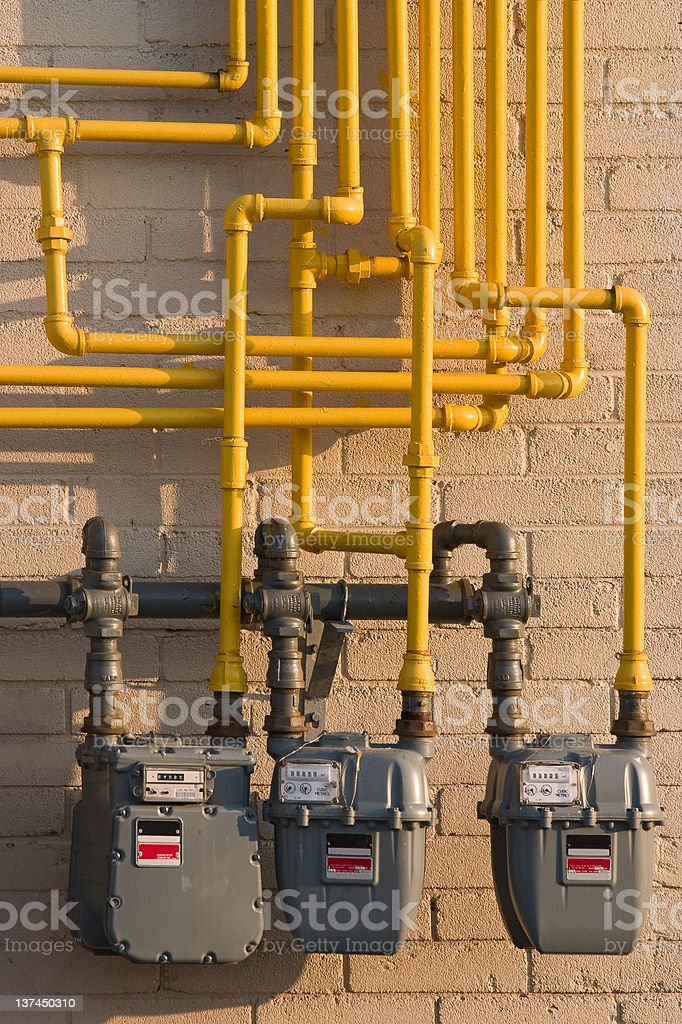 Natural gas meters stock photo